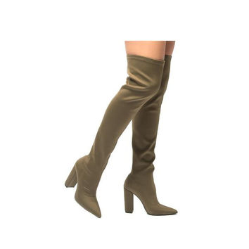 Khaki Knee High Boots