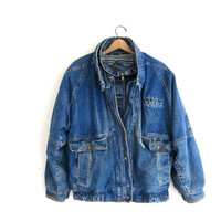 vintage denim jean jacket with southwester lining and patch // women's size m // women's winter coat
