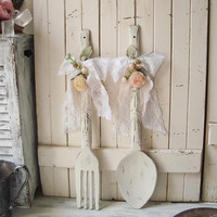 Shabby Chic Antique White Decorative Fork and Spoon, Large Wood Fork and Spoon Wall Decor, Cottage Chic Peach and Cream Wall Hangings
