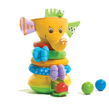 Tiny Love Musical Stack and Ball Baby Educational Developmental Game, Yellow Elephant