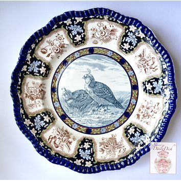 Spode Copeland Upland No. 3 California Quail Enameled Clobbered Antique 2 Color Transferware Plate