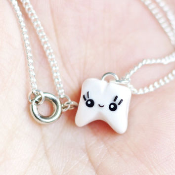 Kawaii Tooth Charm Necklace - Polymer Clay - Tooth Gift - Dentist Gift - Dental Student - Dental Assistant - Dentist - Tooth Jewelry