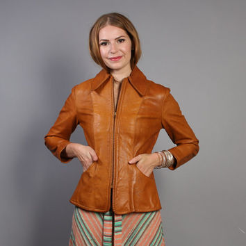 70s FLORAL Pattern LEATHER JACKET / Fitted Golden Brown Boho Coat, xs