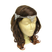 Boho Wedding Headpiece Indian Headpiece Gypsy Headpiece Hippie Bride Bohemian Bridal Headpiece Rhinestone Head Chain
