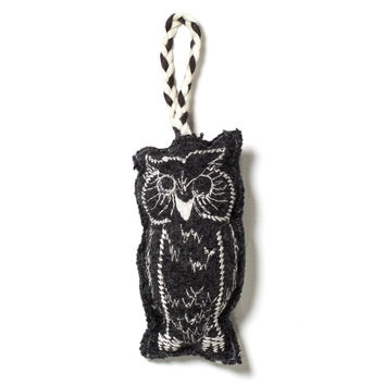 Embroidered Owl Ornament - Grey/Ivory