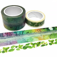 abstract forest landscape washi tape 7m x 3cm secret garden four seasons colorful Landscape super wild tape masking sticker tape gift decor