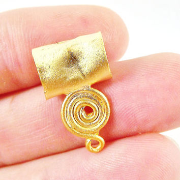 3 Mediım Organic Rustic Curl Spiral Wire Wrap Bails - Matte Gold Plated