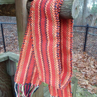 Hand-woven Orange scarf, Striped scarf, handmade cotton scarf, fashion scarf, gifts for women, handcrafted accessories