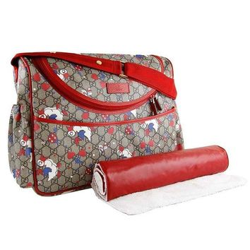 VONW3Q Gucci Duck Red Zip Supreme Print GG Canvas Diaper Bag Beige Baby Italy New