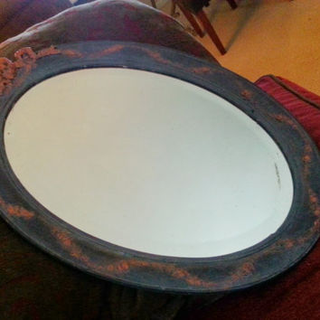 Upcycled Antique Victorian Hand Carved Oval Mirror with Bow