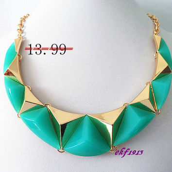 Discount:30% off .Geometric Bubble necklace, Handmade Bib necklace, Statement Necklace, Turquoise green
