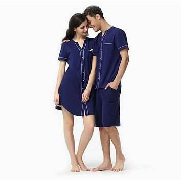 Summer short sleeve top and shorts men pijamas modal couple v neck cyran blue new fashion male  robe
