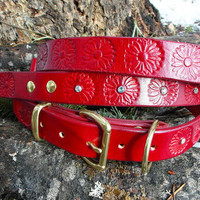 Red Leather dog collar and leash set with Flowers