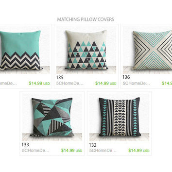 Geometric Pillow Cover, Pillow Cover, Triangle Pillow Cover, Linen Pillow Case 18x18 - Printed Geometric - 132