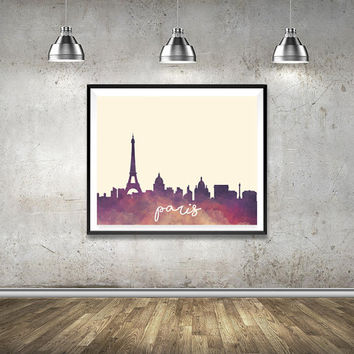 Paris Print, Wall Art Printable, City Print, Watercolor, Paris Skyline, City Skyline, Watercolor art, Wall Home Decor, Paris, Eiffel Tower