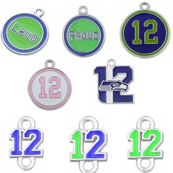 7 Styles Enamel Football Seahawks Proud And Loud 12 Charms The Forever 12 Pendant Charms For DIY Necklace & Bracelet & Earring
