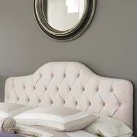 Twin Size Button-Tufted Upholstered Headboard In Ivory Color