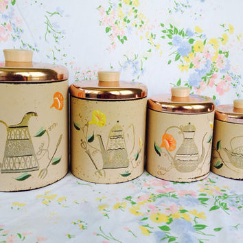 1940s Ransburg Nesting Canister Set Kopper Kettle Pattern Pinkish Tan and Rose Copper Lids Hand-Painted