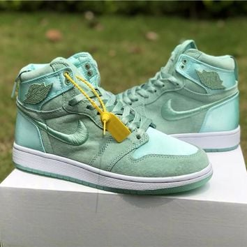 "Air Jordan 1 ""Satin"" Green Women Sneaker Shoe 36-40"