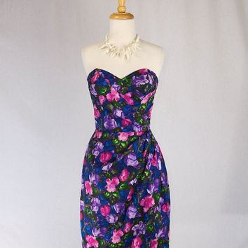 Vintage 1950's Sarong Dress Bombshell Bullet Bra Bust Hawaiian Style by Jole of Baltimore