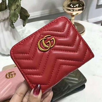 GUCCI Popular Women Leather Simple Metal Zipper Wallet Purse Red B/I-AGG-CZDL