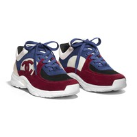 Suede Calfskin Navy Blue & Red Sneakers | CHANEL