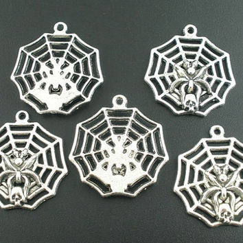 2 Spider Web Charms Large Pendant Goth Halloween Skull 122A