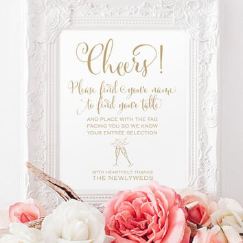 "Please Find Your Name Sign - Champagne Favors - 8 x 10 sign - Printable sign in ""Bella"" antique gold - PDF and JPG files - Instant Download"