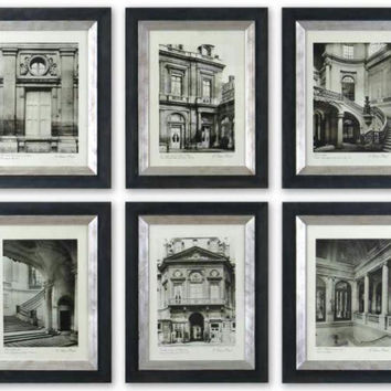 6 Framed Prints - Paris Architecture Themed Prints In  Monotone Style