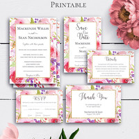 Blush Printable Wedding Set, Watercolor Flowers, Rose Weddings, Customize, Boho Gold Wedding, Romantic Invitations, Botanical Wedding
