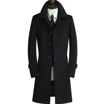 Men's clothing teenage design long wool coat men business casual plus size S - 9XL single breasted woolen coats mens outerwear