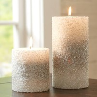 Silver Beaded Pillar Candles | Pottery Barn