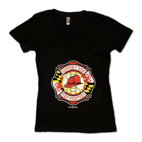 Support Our Maryland Firefighters / Ladies Sporty V-Neck Shirt