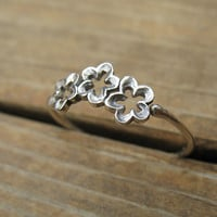 Three Flowers Stacking Ring