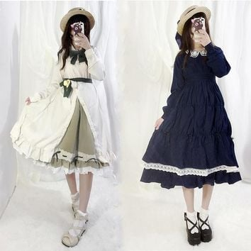 Japanese Anime cos Saturna Lolita Dress Tomoyo Party Cosplay Costume Kawaii Bow Ruffles Embroidery Women Dresses