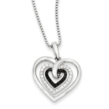 1/4 Ctw Black & White Diamond Triple Heart Necklace in Sterling Silver