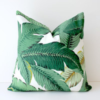 Green Floral Decorative Designer Pillow Cover 18 Accent Cushion Tropical Palm fronds Leaves nature jungle forest modern martinique Resort