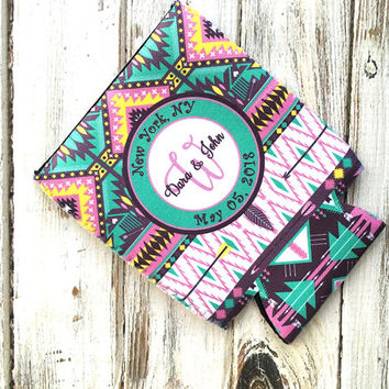 Inexpensive wedding favor, Personalized Aztec favor can coolie, Turquoise wedding colors, Tribal bottle hugger, Custom party favors (1002)