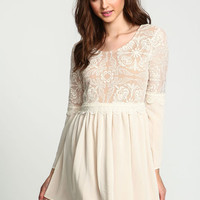 SAND LACE CHIFFON FLARE DRESS