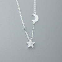 Twinkle Star & Crescent Moon Pendant Necklace  -  Available color as listed ( Gold, Silver )