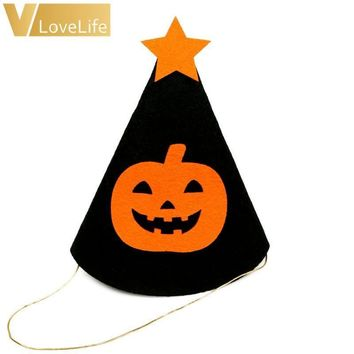 Halloween Children Felt Hat Pumpkin Skull Witch Bat Pattern Floral Kids Funny Cap Party Performance Props