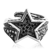 925 Sterling Silver Inlayed Gemstones Five-Pointed Star Open Ring Adjustable Size Men's Jewelry