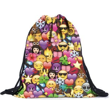 Emojis Collage Drawstring Bags Cinch String Backpack