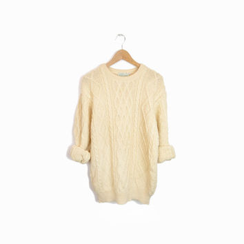Vintage Irish Wool Fisherman Sweater in Cream - men's medium
