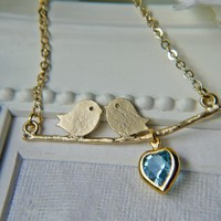 Lovebirds Necklace In Matte Gold With Vintage Swarovski Crystal Sapphire Heart Charm | Luulla