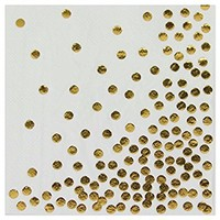 Andaz Press Gold Foil Polka Dot Lunch Napkins, 6.5-inch, 50-Pack, Shiny Metallic Colored Wedding Birthday Baby Shower Holiday Party Supplies Tableware Decorations