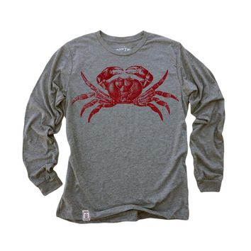 Red Crab: Tri-Blend Long Sleeve T-Shirt in Heather Grey