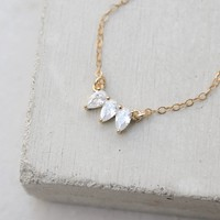 Tear Drop CZ Necklace - White