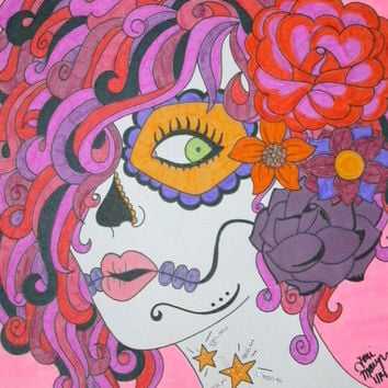 Pink Sugar Skull Girl with Glitter Glue, Sharpies, and Marker 8x10 Drawing, Original Day of the Dead Art, Dia De Los Muertos, Gift Idea