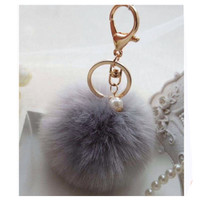 Adorable Grey Fur Pom Pom Gold Keychain, Purse Charm